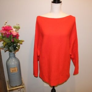 Vince Camuto Coral Salmon Pink Ribbed Knit Sweater